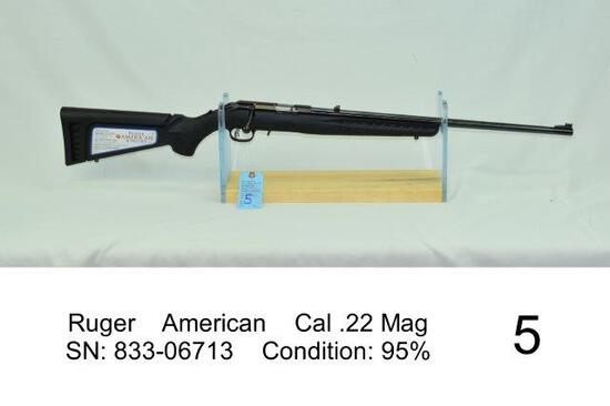 Ruger    American    Cal .22 Mag    SN: 833-06713    Condition: 95%