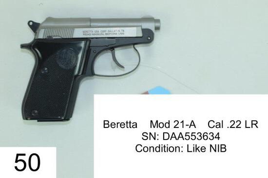 Beretta    Mod 21-A    Cal .22 LR    SN: DAA553634    Condition: Like NIB