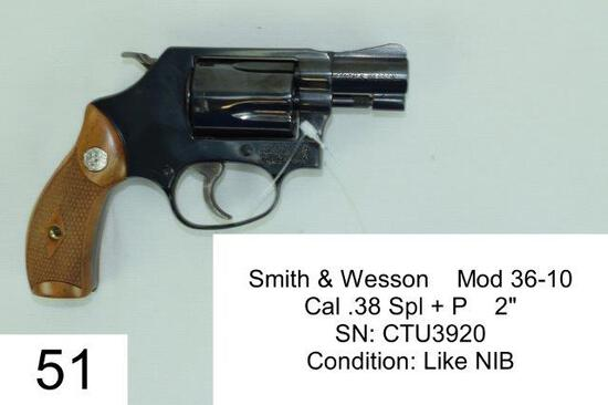 "Smith & Wesson    Mod 36-10    Cal .38 Spl + P    2""    SN: CTU3920    Condition: Like NIB"