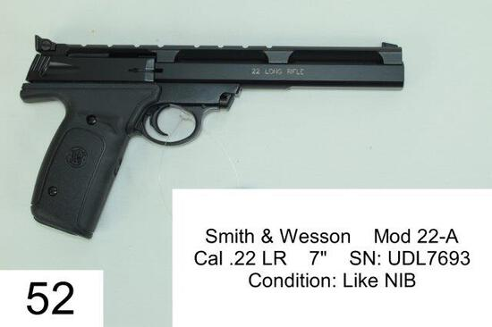 "Smith & Wesson    Mod 22-A    Cal .22 LR    7""    SN: UDL7693    Condition: Like NIB"