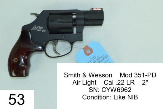 "Smith & Wesson    Mod 351-PD    Air Light    Cal .22 LR    2""    SN: CYW6962    Condition: Like NIB"