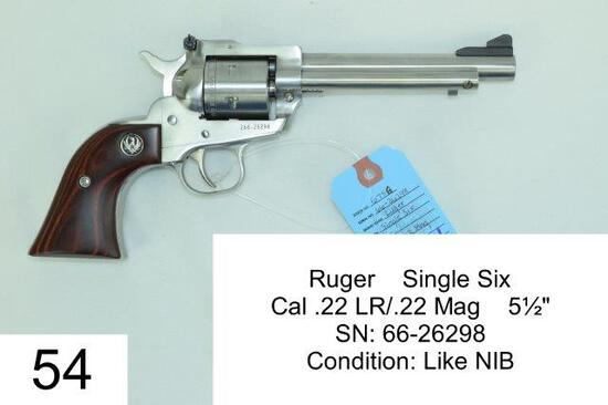 "Ruger    Single Six    Cal .22 LR/.22 Mag    5½""    SN: 66-26298    Condition: Like NIB"