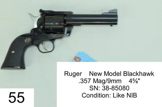 "Ruger    New Model Blackhawk    .357 Mag/9mm    4?""    SN: 38-85080    Condition: Like NIB"