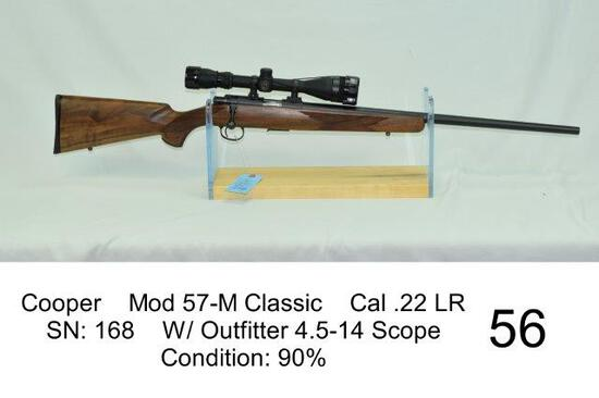 Cooper    Mod 57-M Classic    Cal .22 LR    SN: 168    W/ Outfitter 4.5-14 Scope    Condition: 90%
