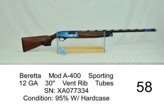 "Beretta    Mod A-400    Sporting    12 GA    30""    Vent Rib    Tubes    SN: XA077334    Condition:"