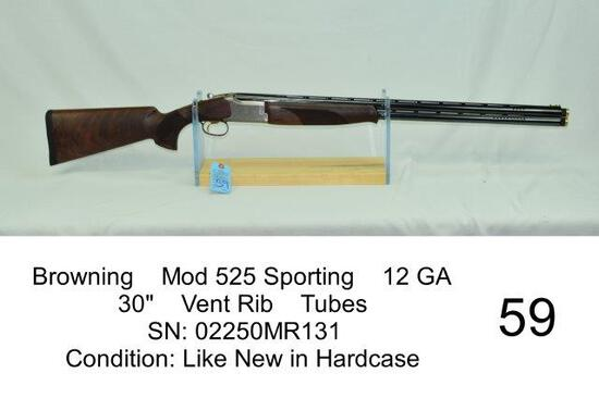 "Browning    Mod 525 Sporting    12 GA    30""    Vent Rib    Tubes    SN: 02250MR131    Condition: Li"