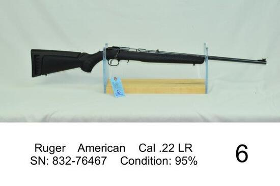 Ruger    American    Cal .22 LR    SN: 832-76467    Condition: 95%