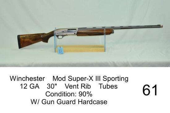 "Winchester    Mod Super-X III Sporting    12 GA    30""    Vent Rib    Tubes    Condition: 90%    W/"