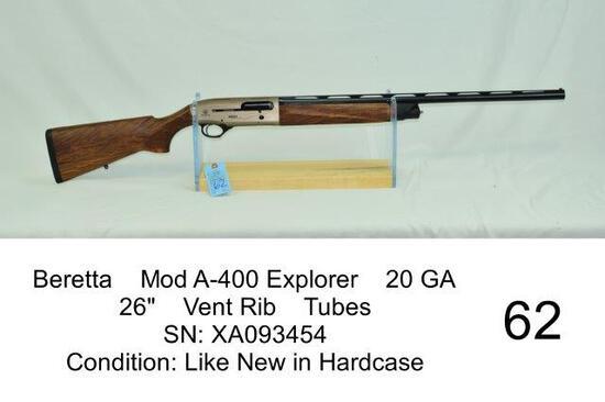 "Beretta    Mod A-400 Explorer    20 GA    26""    Vent Rib    Tubes    SN: XA093454    Condition: Lik"