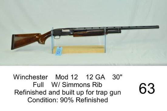 "Winchester    Mod 12    12 GA    30""    Full    W/ Simmons Rib    Refinished and built up for trap g"