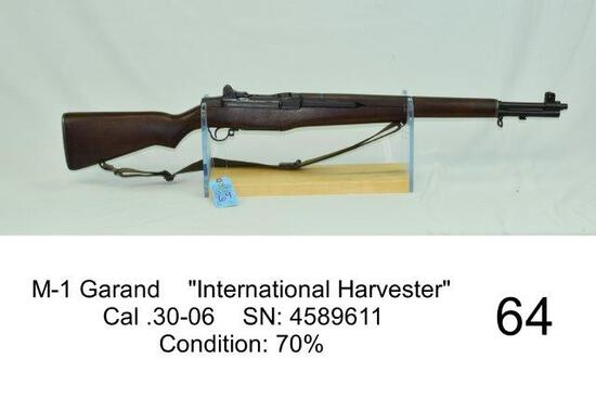 "M-1 Garand    ""International Harvester""    Cal .30-06    SN: 4589611    Condition: 70%"