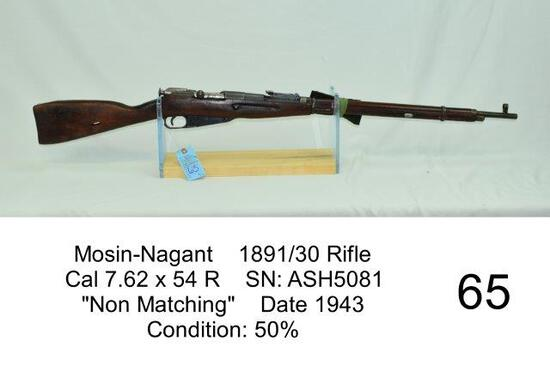 "Mosin-Nagant    1891/30 Rifle    Cal 7.62 x 54 R    SN: ASH5081    ""Non Matching""    Date 1943    Co"