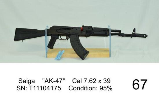 "Saiga    ""AK-47""    Cal 7.62 x 39    SN: T11104175    Condition: 95%"