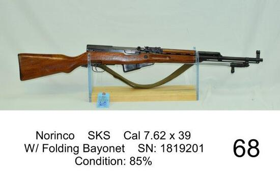 Norinco    SKS    Cal 7.62 x 39    W/ Folding Bayonet    SN: 1819201    Condition: 85%