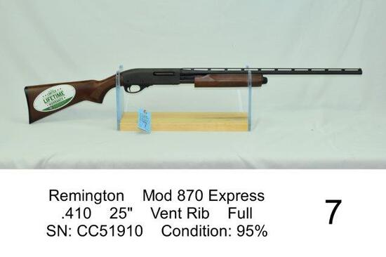 "Remington    Mod 870 Express    .410    25""    Vent Rib    Full    SN: CC51910    Condition: 95%"