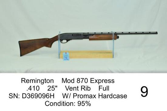 """Remington    Mod 870 Express    .410    25""""    Vent Rib    Full    SN: D369096H    W/ Promax Hardcas"""