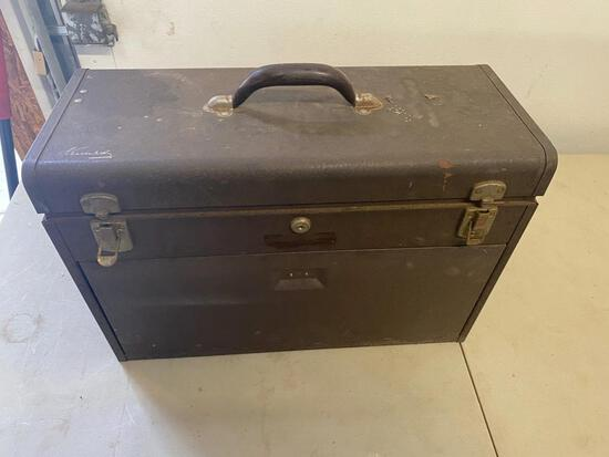 Kennedy Kits style no. 520 vintage toolbox with a few assorted tools