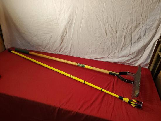 Vigoro Thatch rake, and 65 inch light bulb helper