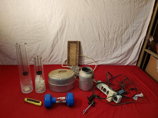 10 lb weight, candle holders, power strip, cords, and vintage metal containers