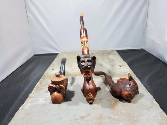 3 Pipes, Wood monkey with hat lid Italy Nally F Frann imported briar, Wood carved wolf no markings,