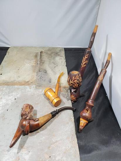 4 pipes, Wood figure no markings, Wood spencer, Wood carved with flowers Italy, Wood carved face no