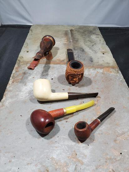 5 pipes, Wood duck no markings, Wood with yellow stem no markings, Small wood pipe Imported Briar,