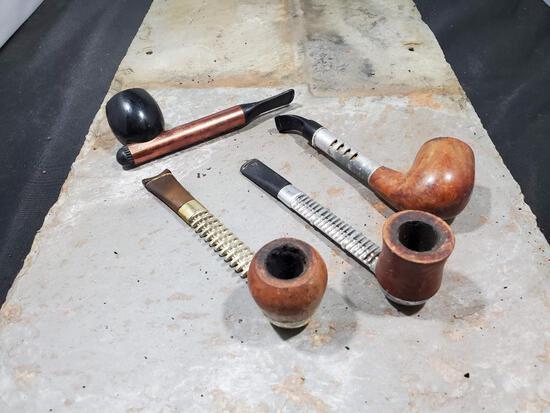 4 pipes, Wood and metal Viking made in USA, Wood metal Medico ventilator imported Briar, Wood metal