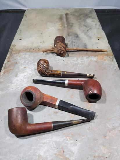 5 pipes, Wood carved Royal Lancer imported Briar, Tree branch carved face no markings, Wood carved