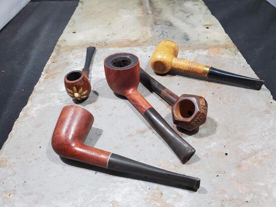 5 pipes, Wood carved Wengen Bruyeres Garantie, Wood with glitter flower London Moonlightweight IB