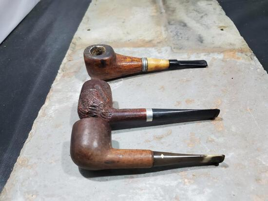 3 pipes, Wood Great smoky Mts. Indain decal, wood Medico on stem, Viscount Dr. Grabow imported Briar