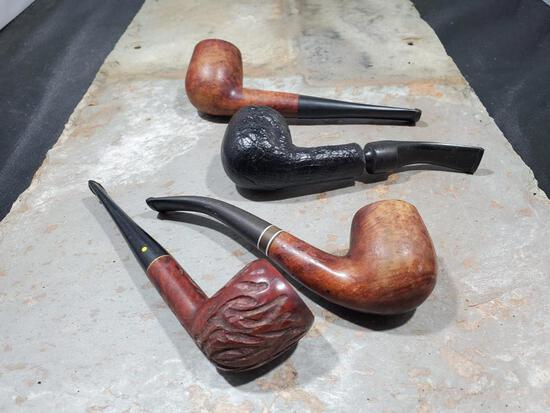 4 pipes Wood imported Briar, Wood carved willard imported Briar, Wood Medico medalist improted