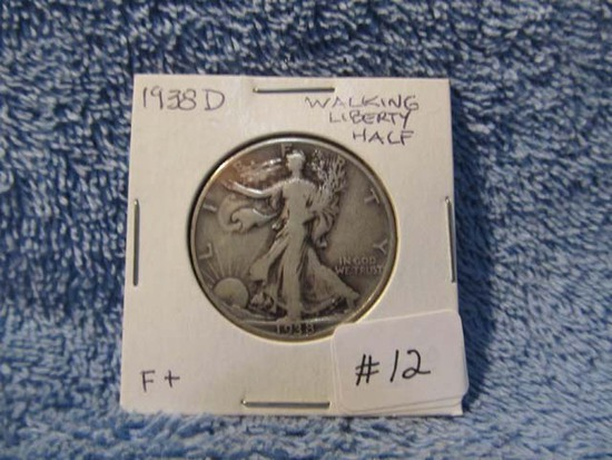 1938D WALKING LIBERTY HALF F+