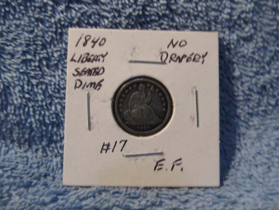 1840 NO DRAPERY SEATED DIME XF