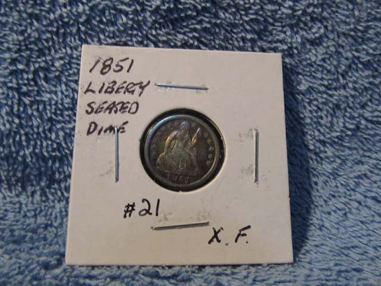 1851 SEATED DIME XF