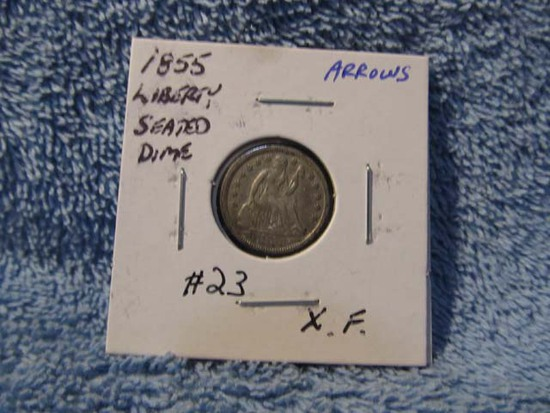 1855 SEATED DIME XF