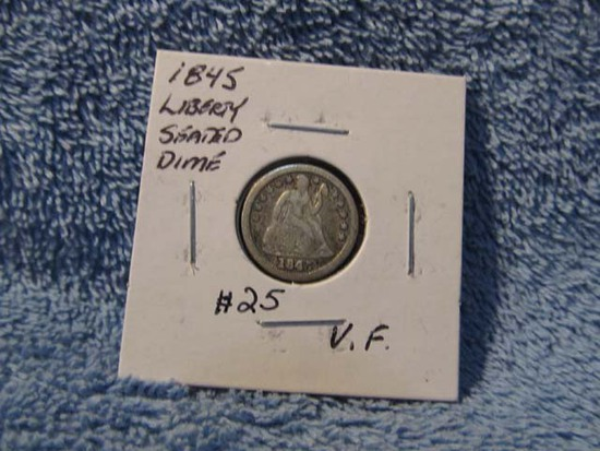 1845 SEATED DIME VF