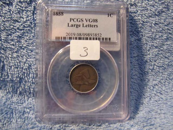 1858 L.L. FLYING EAGLE CENT PCGS VG8