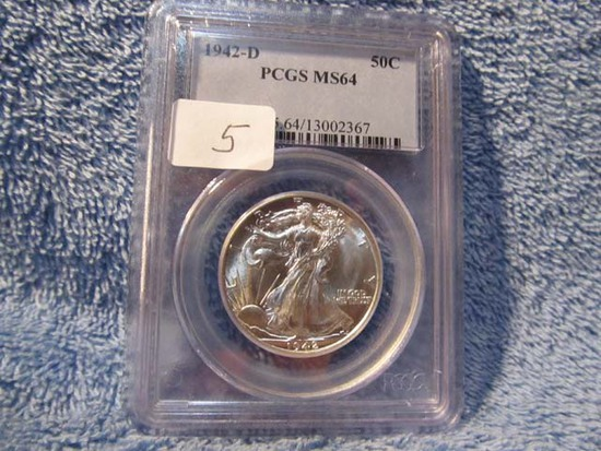 1942D WALKING LIBERTY HALF PCGS MS64