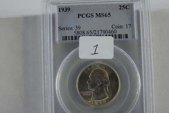 1939 WASHINGTON QUARTER PCGS MS65
