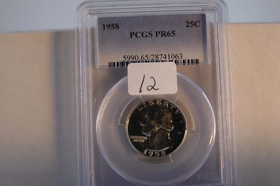 1958 WASHINGTON QUARTER PCGS PR65