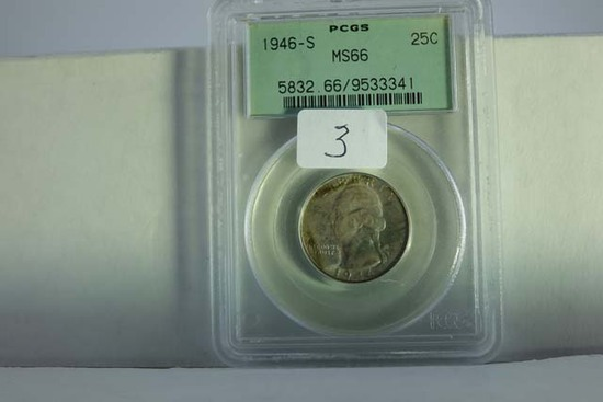 1946S WASHINGTON QUARTER PCGS MS66