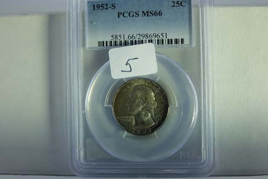 1952S WASHINGTON QUARTER PCGS MS66