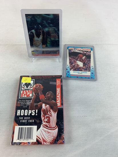Michael Jordan 1989 All-Star Fleer, Upper Deck Hologram, Hoops Magazine