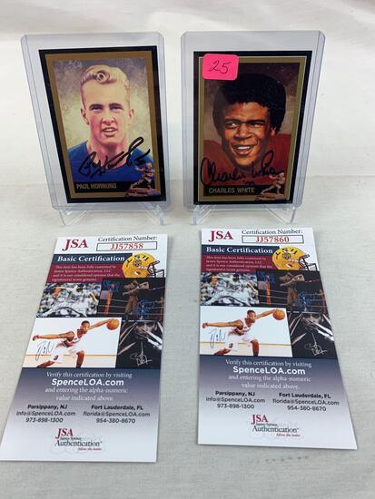 Paul Hornung & Charles White signed Heisman cards, JSA