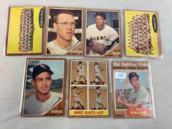 (7) 1962 Topps Lot w/ Al Kaline All-Star – Maris 61st HR & others