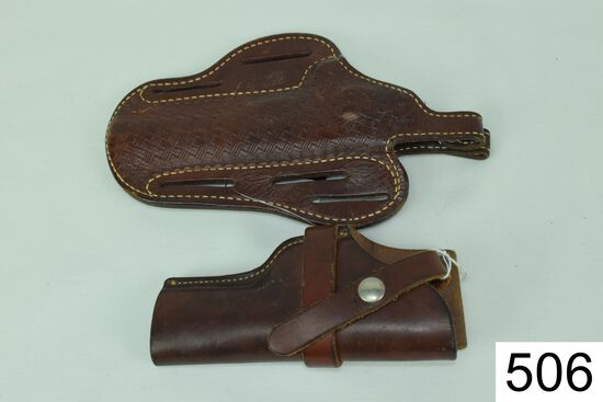 Lot of 2 Holsters    A: Challenger    1-C    581    B: Roy's Leather Goods    No. 19/6/SH    Conditi