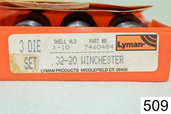 Lyman 3 Die Set    .32-20 Win    W/Shellholder    Condition: Excellent