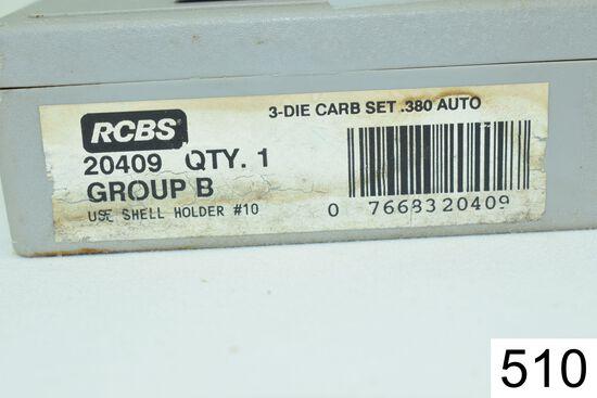 RCBS    3 Die Set    Carbide    .380 Auto    Condition: Excellent