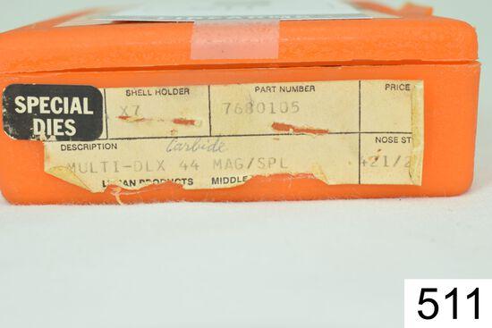 Lyman    3 Die Set    Carbide    .44 Mag/.44 Spl    W/Shellholder    Condition: Excellent