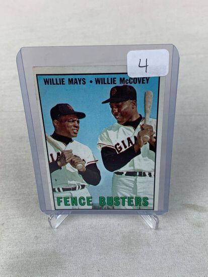 1967 Topps Fence Busters Mays/McCovey #423 EX Centering Holds It Back
